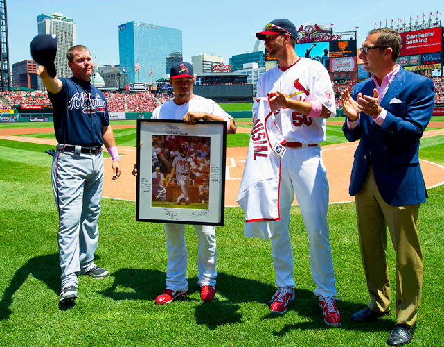 In a May visit to St. Louis, former teammate Rafael Furcal, pitcher Adam Wainwright, and general manager John Mozeliak presented Chipper with a jersey signed by Cardinals Hall of Famer Stan Musial, along with photo signed by the team.