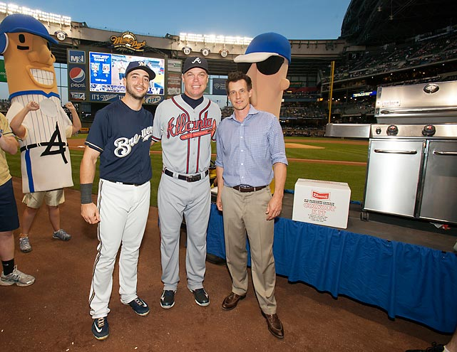 For a September series in Milwaukee, Ryan Braun and the rest of the Brew Crew honored Chipper Jones by giving him a grill and a year's supply of Klement's sausages.