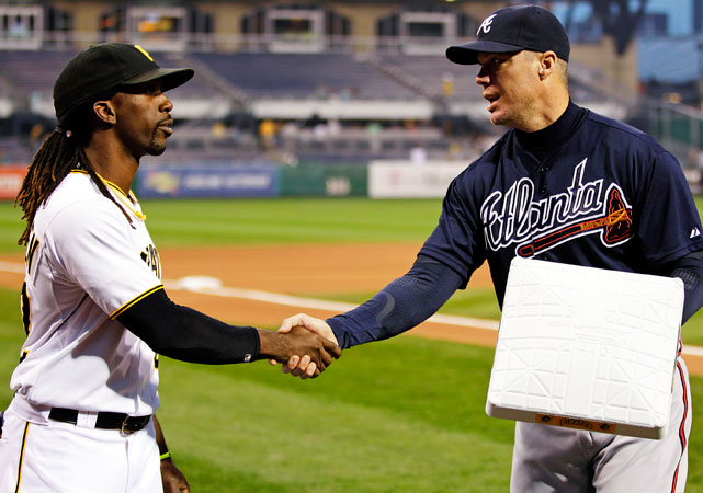 In his final road trip of the season, Chipper was presented with one of the commemorative bases being used for the three-game series in Pittsburgh. The Pirates also made a $5,000 contribution to the Georgia chapter of Cystic Fibrosis in Chipper's name.