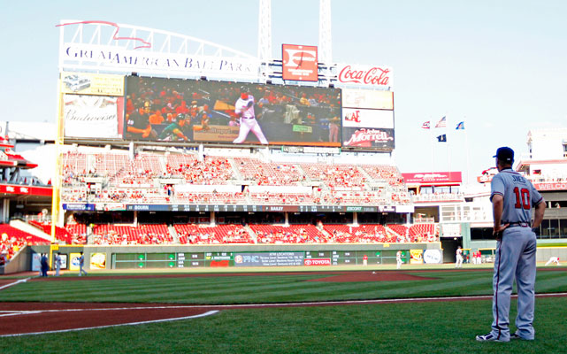 In every ballpark Chipper visited, there was a video tribute to his career. In addition, he received a new camera for his hunting bow by Rockies first baseman Todd Helton during his May visit to Colorado. On a June trip to Boston, he received the number 10 from the famous Fenway Park scoreboard.