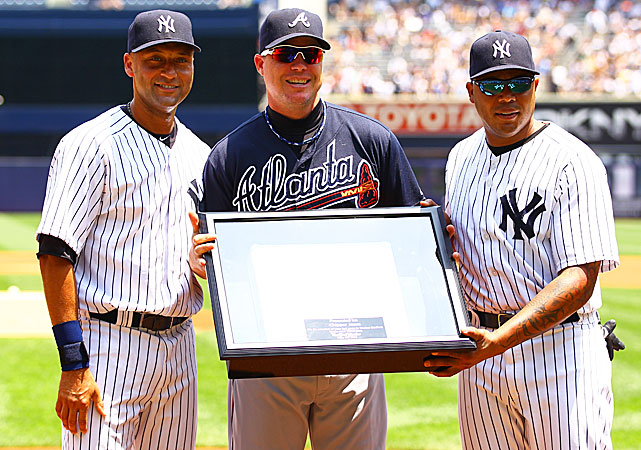 As the calender turned to June, Chipper made his final trip to Yankee Stadium. Derek Jeter and former teammate Andruw Jones gave him a third base bag from the Bronx.