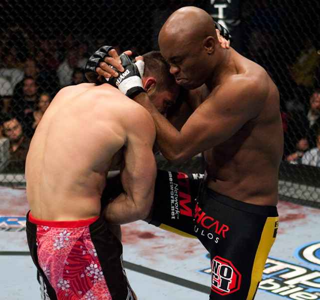 Anderson Silva holds the record for the longest winning streak (15) and most title defenses (10) in UFC history. He won his middleweight belt with a TKO of Rich Franklin at UFC 64.