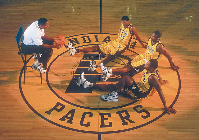 Despite his position with the CBA, Thomas (left) was offered and accepted the head coaching position with the Indiana Pacers in the summer of 2000. Under his watch, the Pacers made the playoffs for three straight years but failed to advance past the first round despite a core featuring young stars such as Jermaine O'Neal, Ron Artest and Al Harrington. He was replaced by Rick Carlisle during the 2003 offseason.