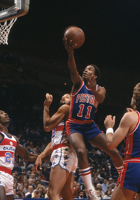 The Detroit Pistons selected Thomas second overall in the 1981 NBA draft. With a young squad surrounding him, Thomas helped lead the Pistons to a 39-43 record, an 18-win improvement over the previous season.