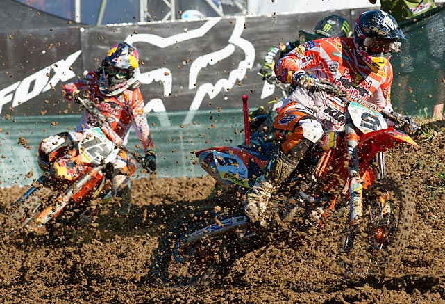 Ken De Dycker of Belgium and Red Bull KTM Factory Team leads the field during the MX1 And MX2 Grand Prix of Europe in Faenza, Italy.