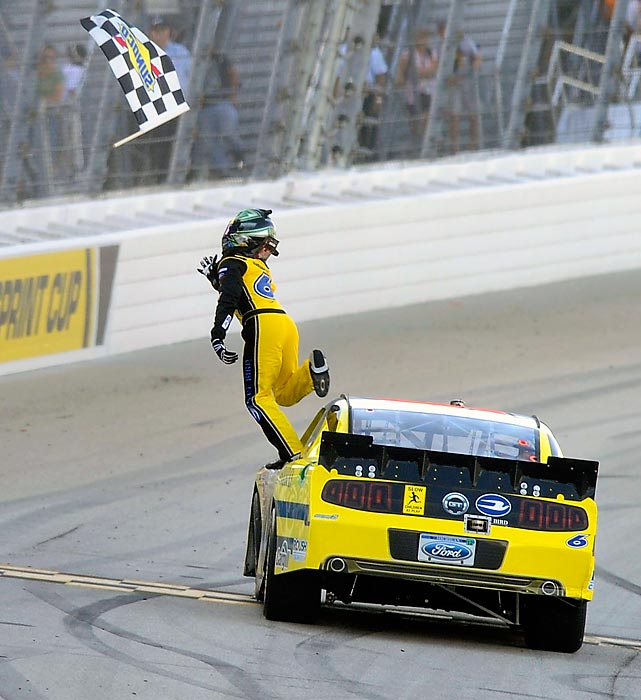 Ricky Stenhouse Jr. celebrates after winning the NASCAR Nationwide Series race at Chicagoland Speedway.