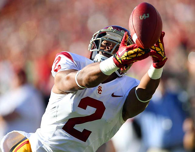USC wide receiver Robert Woods cannot haul this pass in during the Trojans' 21-14 upset loss at Stanford.
