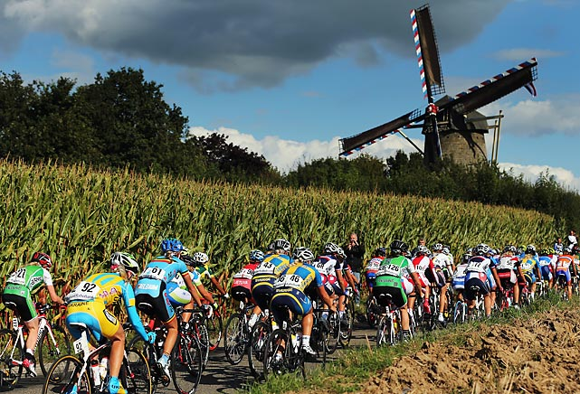 The peloton ride past a windmill during the Elite Women's Road Race on day seven of the UCI Road World Championships in Valkenburg, Netherlands.