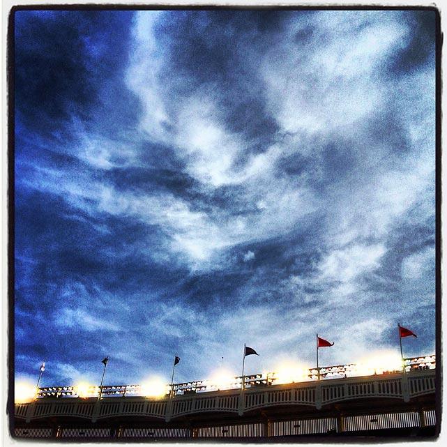 The sky over Yankee Stadium.