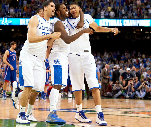 The Wildcats and wondrous freshman center Anthony Davis seldom looked challenged in Kentucky's championship run, the first for veteran coach John Calipari. Davis, the eventual first overall pick in the 2012 NBA Draft, anchored an extraordinarily talented team that never appeared to struggle and brought a title back to Lexington for the first time since 1998 with its win over Kansas in the final.