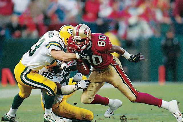 It was Jerry Rice whose clear-cut fumble against the Packers in a 1998 NFC wild-card playoff game -- a fumble that went uncalled -- set up Terrell Owens' breakthrough game-winning touchdown as time expired.