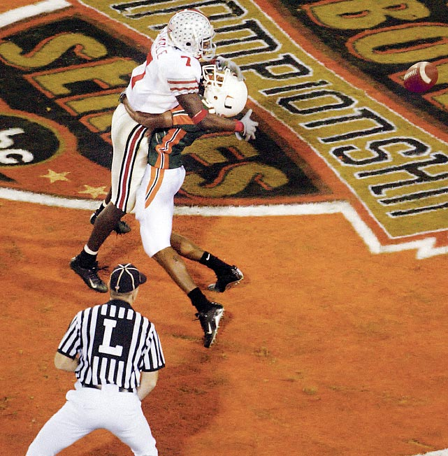 Nobody gave Jim Tressel's squad a chance against the star-studded Hurricanes, but the Craig Krenzel-led Buckeyes pulled off a shocker in double overtime. The game will always be remembered for a controversial, fourth-down pass interference call that kept Ohio State alive in the first overtime.