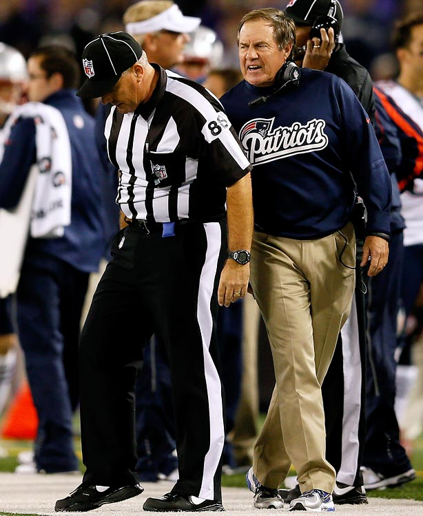 The Patriots head coach was caught by cameras excoriating the officials for a large chunk of the game, and then trying to grab an official as everybody headed for the tunnel after the Patriots lost 31-30 against the Ravens in Week 3. Belichick insists he was trying to get clarification on a questionable ruling on the game-winning field goal, but he instead received a $50,000 fine.