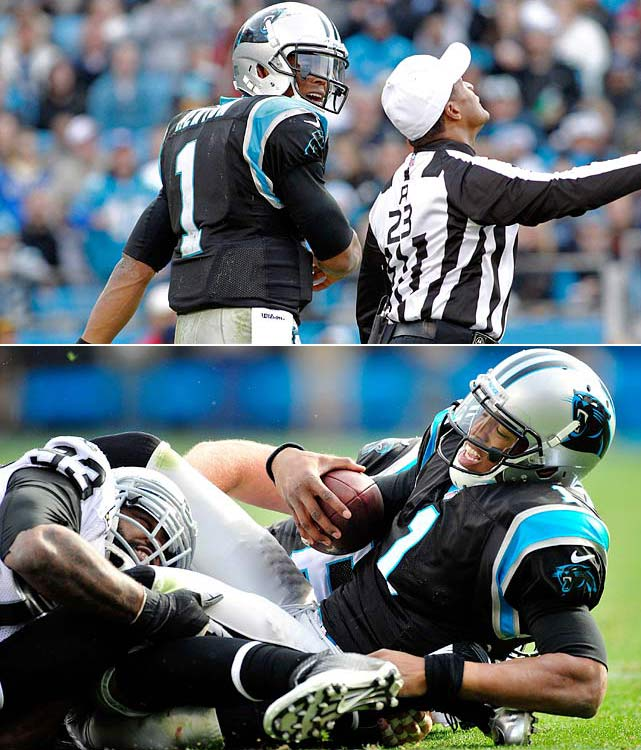The Panthers quarterback was fined $31,000 -- $21,000 for making contact with an official and an additional $10,000 for kicking Raiders defensive tackle Tommy Kelly.