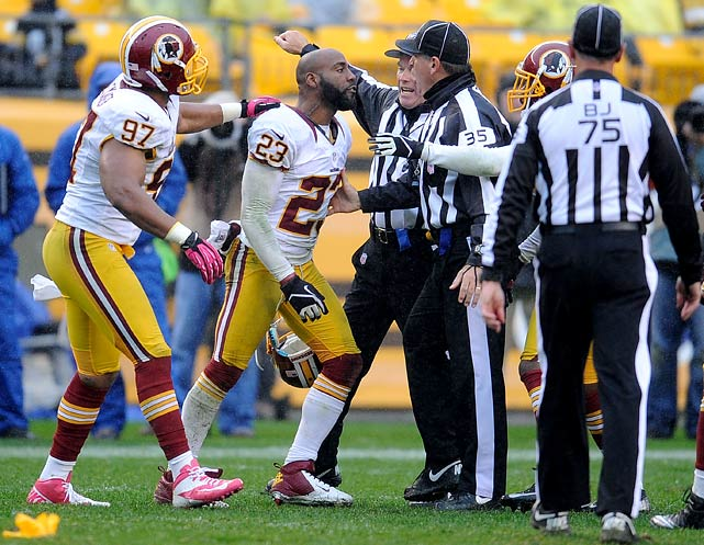 "The Redskins cornerback was fined $30,000 by the league for an altercation with officials in his team's 27-12 loss to the Pittsburgh Steelers in Week 8.  The incident in question occurred near the end of the game, when Hall expressed frustration that Steelers wide receiver Emmanuel Sanders wasn't called for a post-play tussle. Hall took off his helmet and berated the head linesman of the game for not making a call. Hall insinuated that the official was firing back as well, saying he was ""dishing it out just as much as I'm dishing it out."""