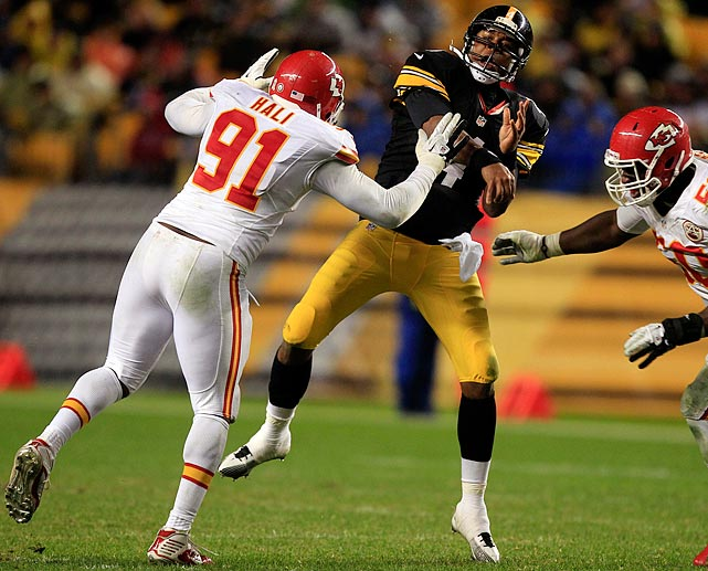 The Chiefs linebacker was fined $25,000 for his helmet hit on Steelers quarterback Byron Leftwich in Week 10.
