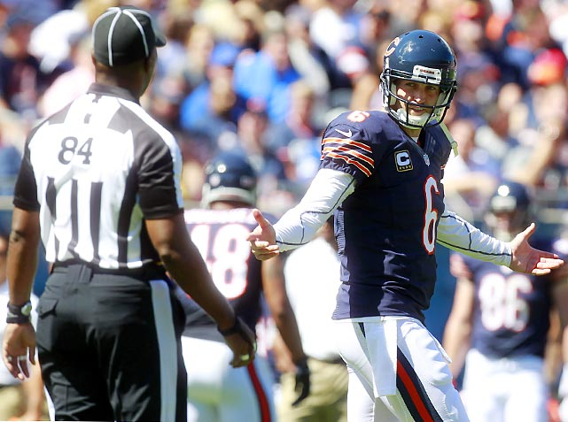 Bears' quarterback Jay Cutler shockingly expresses some emotion while arguing a call during the Bears' opener against Indianapolis.