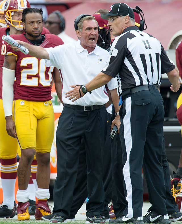 Mike Shanahan argues with head linesman Toney Brausell during the Redskins Week 3 loss to Cincinnati.