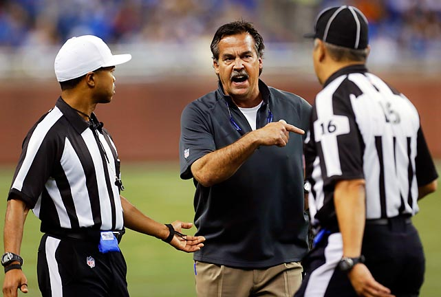 Jeff Fisher angrily reacts to a call during the Rams' opening week game against Detroit.