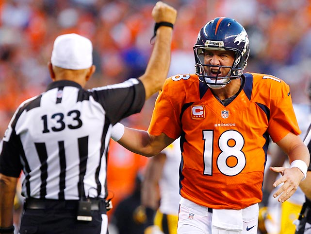 Peyton Manning reacts in disbelief during the first quarter of Denver's Week 1 game against Pittsburgh.