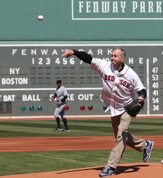 A native of Braintree, Mass., Calhoun got to throw out the first pitch at a Red Sox game.