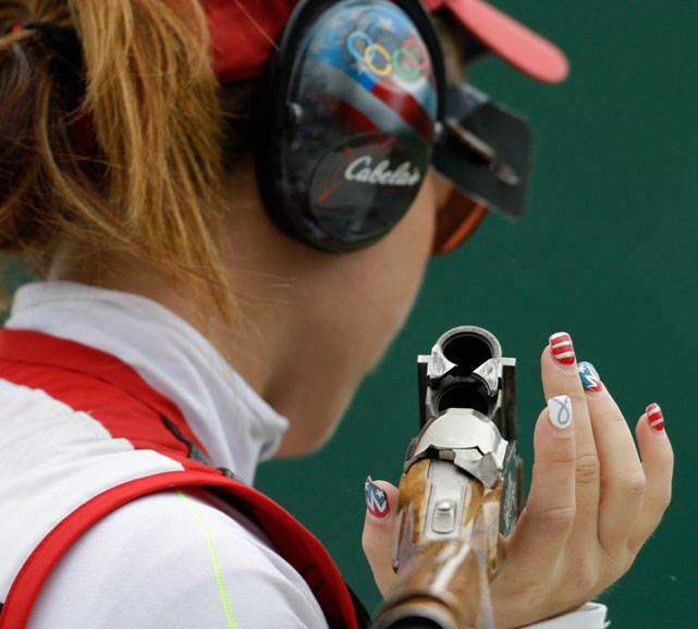 Let's hope Corey Cogdell of the U.S. didn't ruin her manicure while competing at the women's trap event during the 2012 Olympics.