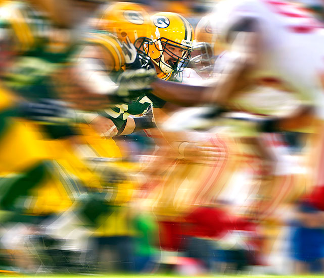 Jeff Saturday isn't the first player associated with speed, but Tim Layden discusses how the former All-Pro and Super Bowl winning center has become the fulcrum of Green Bay's dizzying no-huddle attack.
