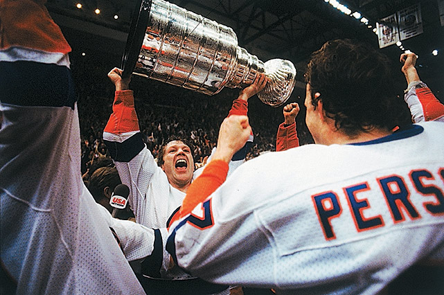 The Islanders complete a four-game sweep of the up and coming Oilers and win their fourth straight Stanley Cup. The Isles hold Wayne Gretzky without a goal in the series and their big guns -- Bryan Trottier, John Tonelli and Mike Bossy -- combine for three in a two-minute span of the first period of Game 4. Ken Morrow secures the silverware with an empty-net tally. Bossy finishes with a then-NHL record five game-winning goals in the playoffs, but Billy Smith wins the Conn Smythe Trophy.
