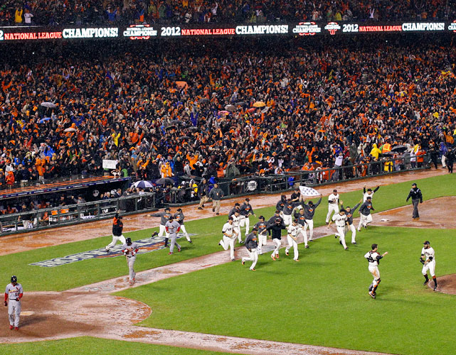 The Giants became only the third team in NLCS history to overcome a 3-1 deficit to win the pennant. After outstanding pitching from Barry Zito and Ryan Vogelsong in Game 5 and 6 evened the series at 3-3, Matt Cain shut down the Cardinals in Game 7 while the offense exploded for nine runs. San Francisco outscored St. Louis 20-1 in the final three games and advanced to the World Series for the second time in three seasons.