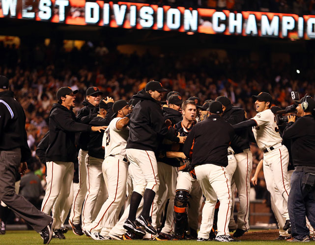 The Giants won a season-high sixth straight game and clinched their eighth division title with an 8-4 win over the Padres. Madison Bumgarner picked up the victory while Marco Scutaro had three hits.