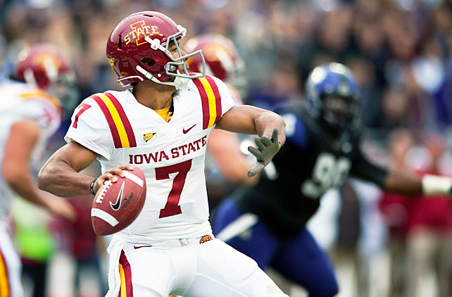 The nation's longest winning streak is over. With starting quarterback Casey Pachall sidelined with a suspension, TCU watched its 12-game unbeaten stretch draw to a close, as Iowa State upset the Horned Frogs in Fort Worth. Cyclones quarterback Jared Barnett (pictured) passed for 183 yards and three touchdowns, and wide receiver Josh Lenz made five catches for 147 yards and all three scores. For TCU, Pachall's replacement, Trevone Boykin, completed 23-of-40 attempts with one touchdown and three interceptions.