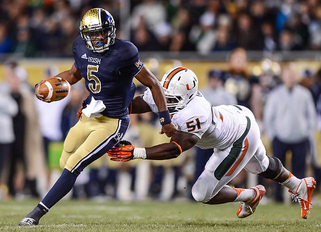 Everett Golson (pictured) didn't start, but he came off the bench to lead Notre Dame to a resounding victory over fellow surprise team Miami. Golson completed 17-of-22 passes for 185 yards and rushed for an additional 52. He wasn't the only player to find success on the ground, as the Fighting Irish amassed 378 rushing yards as a team.