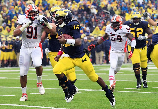 Michigan's offense put on a show, as Denard Robinson (pictured) passed for 159 yards and two touchdowns and rushed for 128 yards and two additional scores against Illinois. But the Big Blue defense was the real star, holding the Illini to seven first downs and 133 net yards.