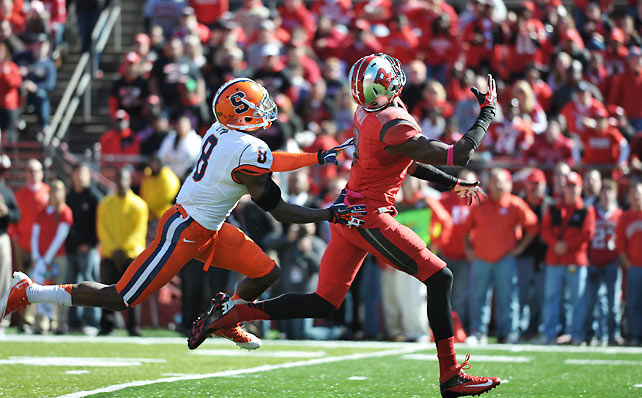 Rutgers kept pace with fellow Big East unbeaten Louisville, fending off Syracuse to improve to 6-0 overall and 3-0 in conference play. Brandon Coleman (pictured) caught six balls for 105 yards, while Khaseem Greene forced three fumbles and intercepted a pass.