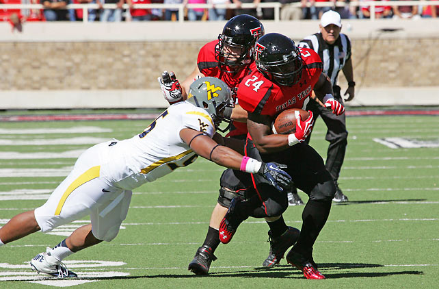West Virginia's BCS title hopes are dashed. Its Big 12 title hopes and Geno Smith's Heisman hopes might be as well. After surviving Texas last week, the Mountaineers went on the road to Lubbock and fell apart, failing to generate any consistent offense and proving incapable of stopping Eric Stephens Jr. (pictured) and the Red Raiders on defense.