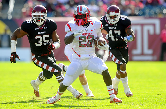 Despite starting slow, Rutgers came alive to overcome Temple and improve to 7-0. Quarterback Gary Nova threw for 232 yards and four touchdowns, running back Jawan Jamison (pictured) tallied 195 all-purpose yards and a score and the Scarlet Knights' defense blanked the Owls in the second half. Nova, who threw just 11 touchdowns all of last year, now has 15 to date in 2012.