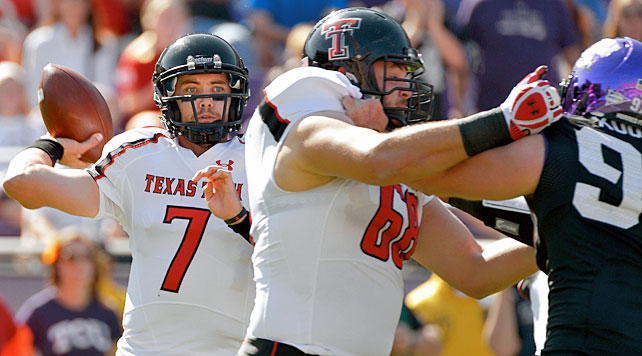 Billed as a matchup between two of the Big 12's premier defenses, Saturday's meeting between Texas Tech and TCU turned into a high-octane shootout. Red Raiders quarterback Seth Doege (pictured) continued his recent hot streak by throwing for 318 yards and seven touchdowns, while junior wideout Eric Ward pulled in three scoring receptions. After trading punches late in the game, Texas Tech escaped with an eight-yard Alex Torres touchdown grab in triple overtime.