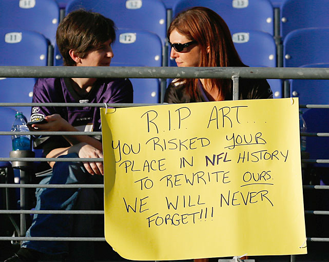 Art Modell may have been the most unpopular man in Cleveland, but these Baltimore natives fans honor the late Ravens owner before a game against the Bengals.