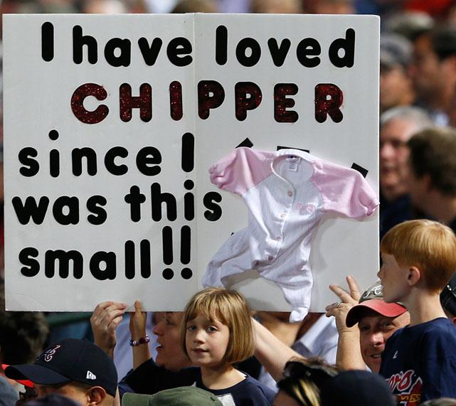 A young fan shows her lifelong allegiance to Chipper Jones.