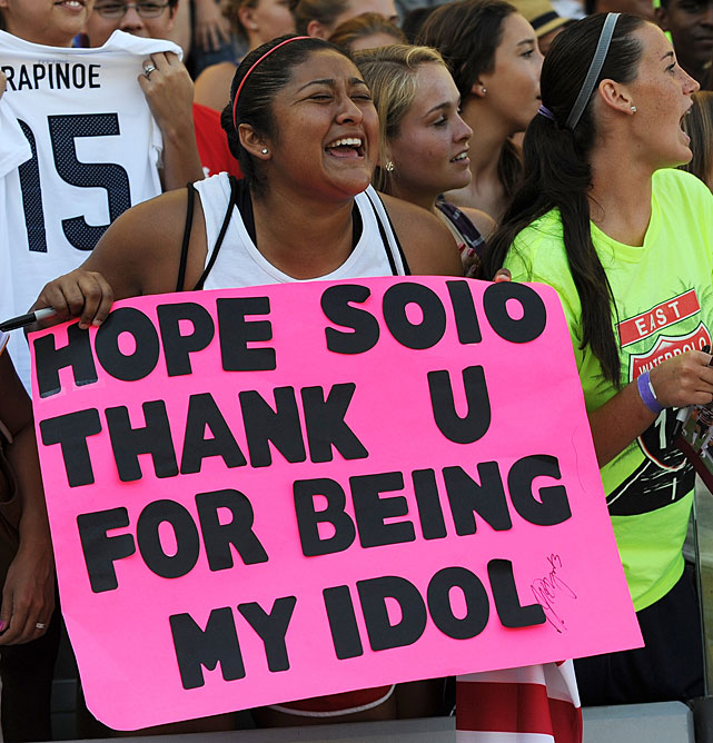 This fan was very excited to watch Hope Solo in action.