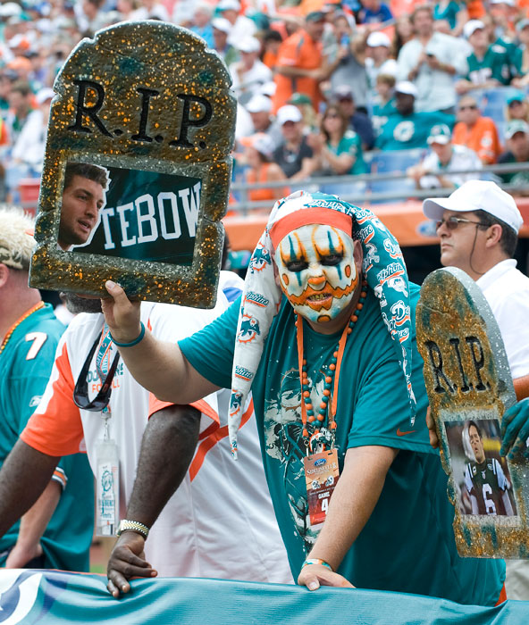 The Dolphins held Tim Tebow to just five rushing yards, but still fell victim to the Jets in a 20-17 overtime loss.