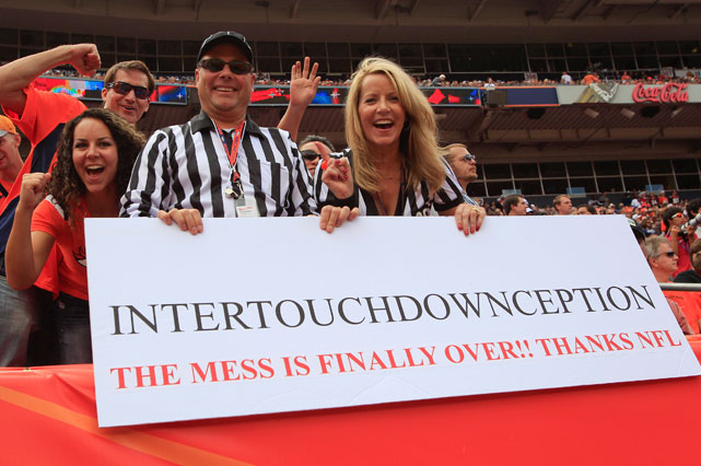 "NFL fans may have complained about the replacement refs, but they'll miss the rare ""Intertouchdownception"" call."