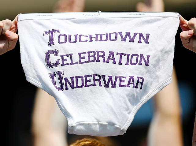It's not technically a sign, but we couldn't resist posting a shot of TCU's celebration underwear.