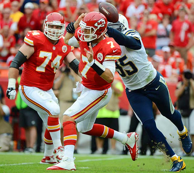 The Chargers' Shaun Phillips beats Chiefs tackle Eric Winston and knocks the ball out of quarterback Matt Cassel's hand.