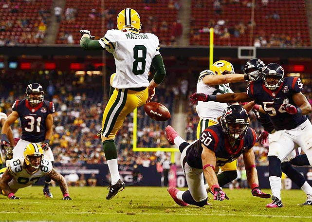Green Bay punter Tim Masthay had his punt blocked by Bryan Braman of Houston and recovered for a touchdown by DeVier Posey of the Texans during Week 6.
