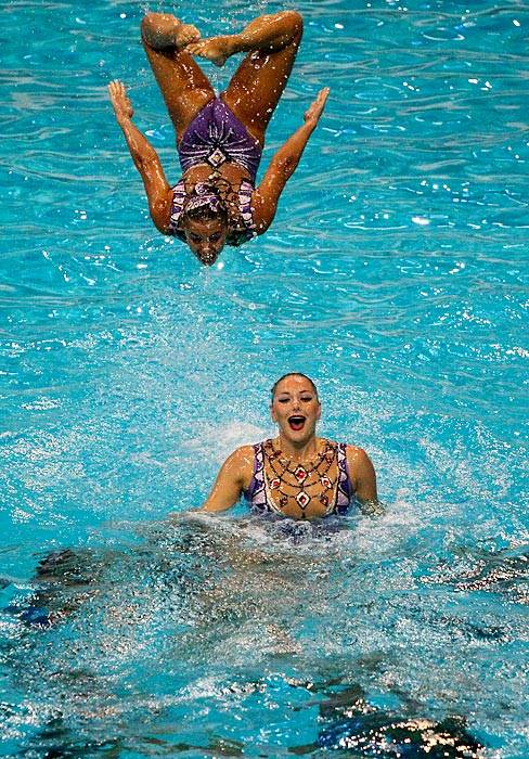 Greek swimmers perform the team free combination during the Synchronized Swimming Championships in Dubai, United Arab Emirates.