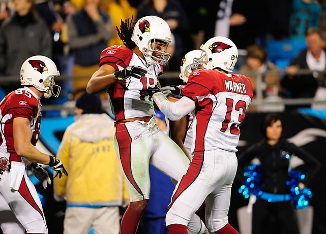 Arizona defeats Carolina 33-13 in the NFC Divisional Playoffs. Coming into the game, Arizona was 0-5 on the East Coast and Carolina was 8-0 at home that season.