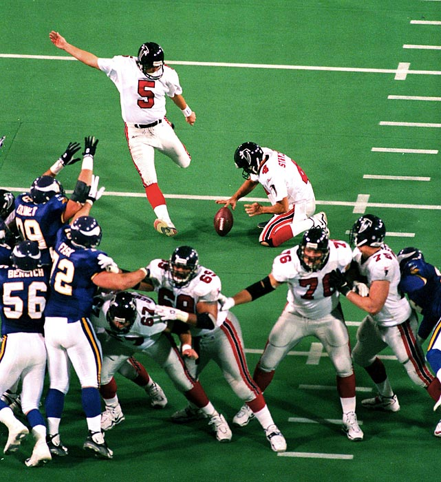 Atlanta upsets formerly unstoppable Minnesota in the 1998 NFC Championship game to reach its first and only Super Bowl. Quarterback Chris Chandler engineered a 70-yard drive well into overtime, setting up Morten Anderson's game-winning 38-yard field goal.