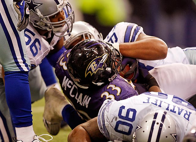 In the final game at Texas Stadium, the Ravens knocked off the Cowboys with two stadium records. First, Willis McGahee charged for a 77-yard touchdown run to set a new stadium record until LeRon McClain broke it on the first play of the next offensive series. McClain's run was 82 yards.