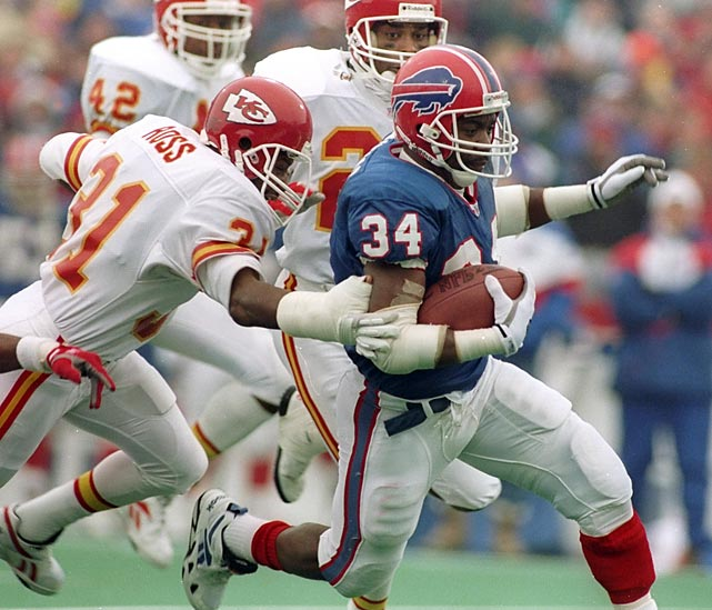 Thurman Thomas runs for three touchdowns and the Bills win their fourth consecutive AFC crown. They are the first team in NFL history to appear in four consecutive Super Bowls.